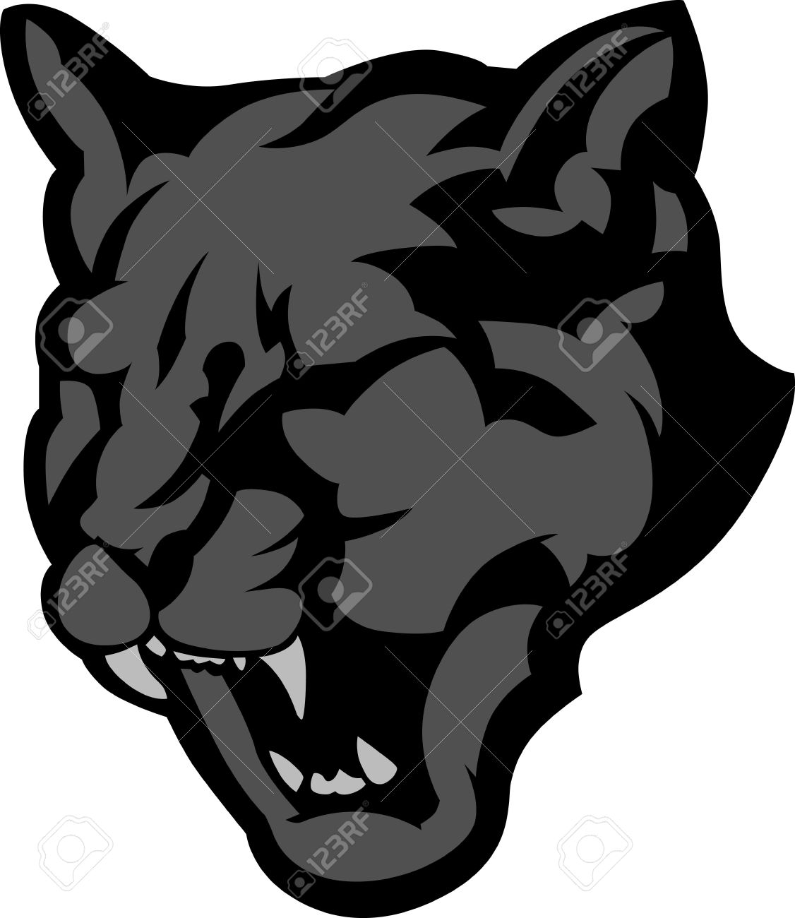 Graphic Mascot Image Of A Black Panther Head Royalty Free Cliparts.