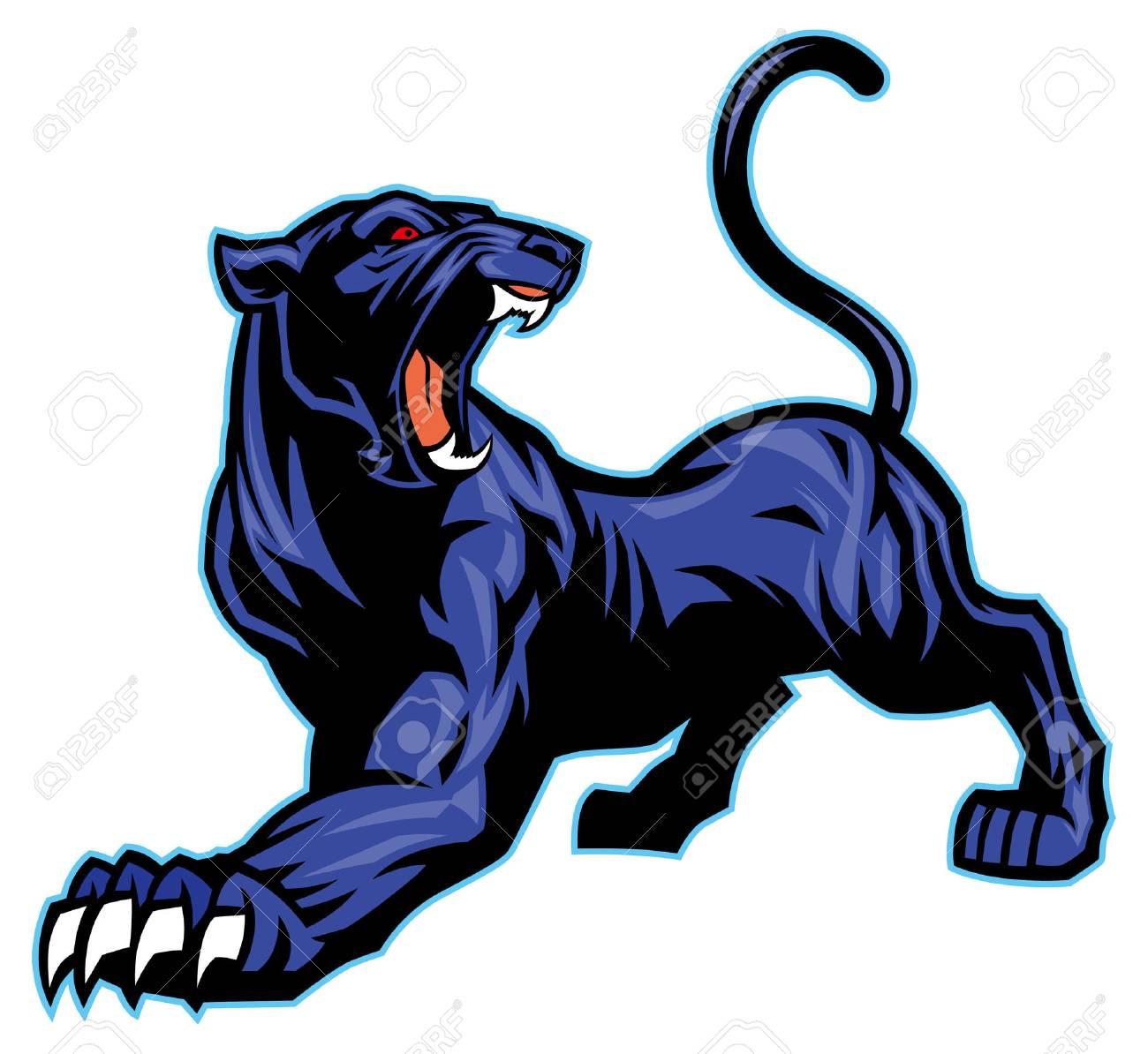 roaring black panther mascot.