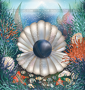 Underwater background with black pearl,.