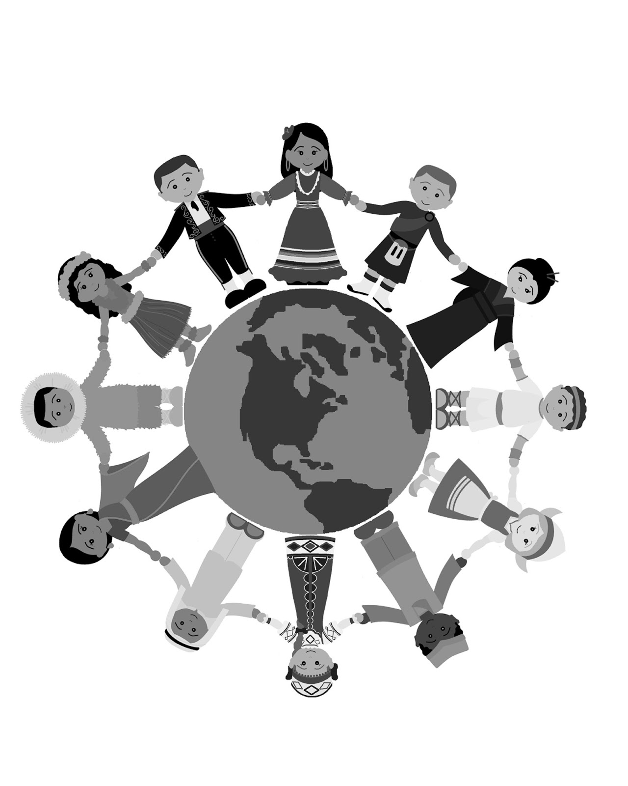 People Holding Hands Around The World Black And White Clipart.