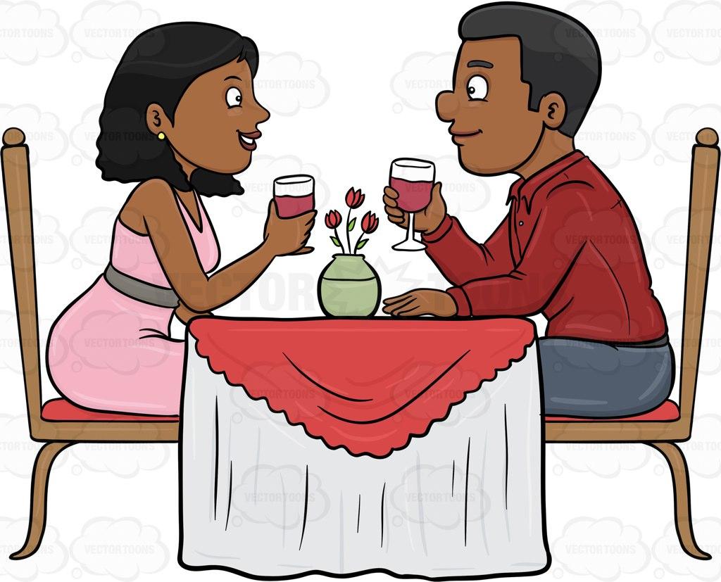 A Black Couple Enjoying A Romantic Date In A Restaurant Cartoon.