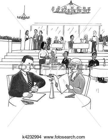 Drawings of People in a Busy Restaurant k4232994.