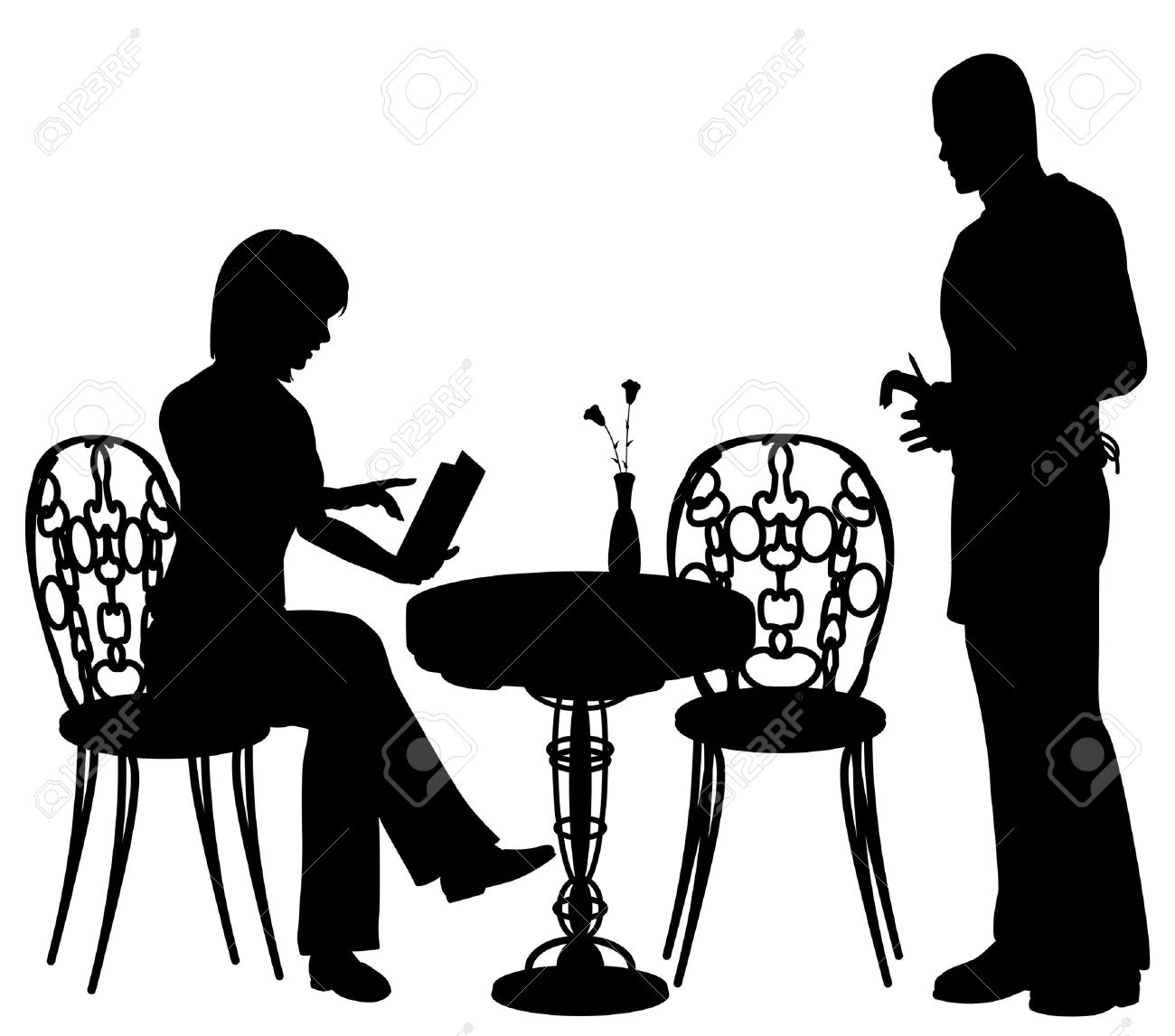 Editable Vector Silhouette Of A Woman Ordering Food And Drink.