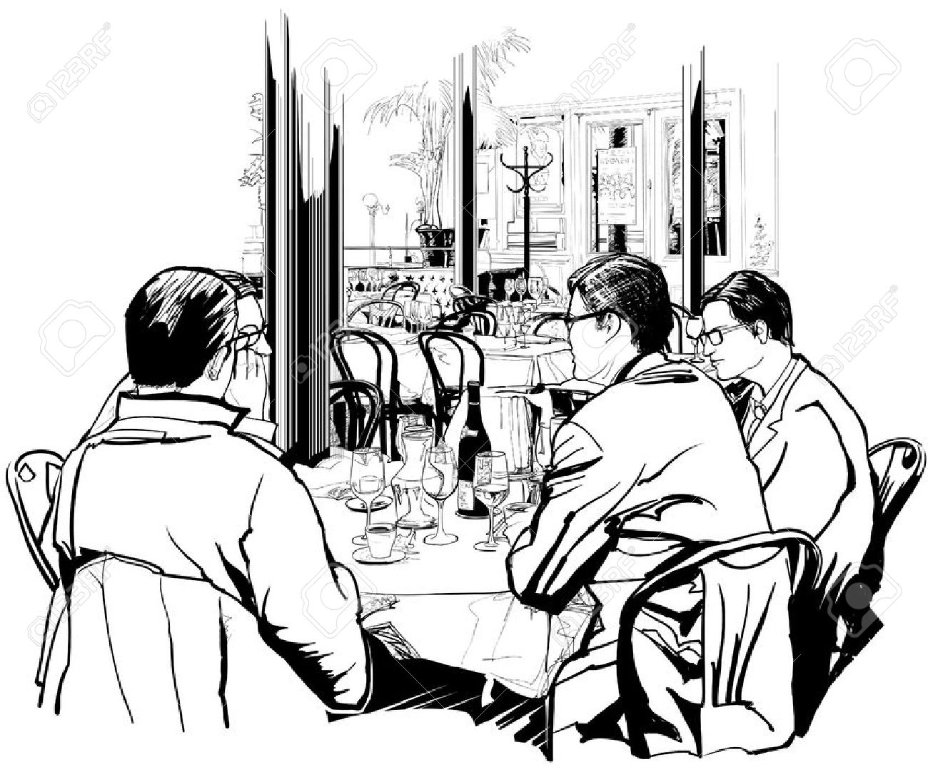 Business Lunch In A Nice Restaurant Royalty Free Cliparts, Vectors.