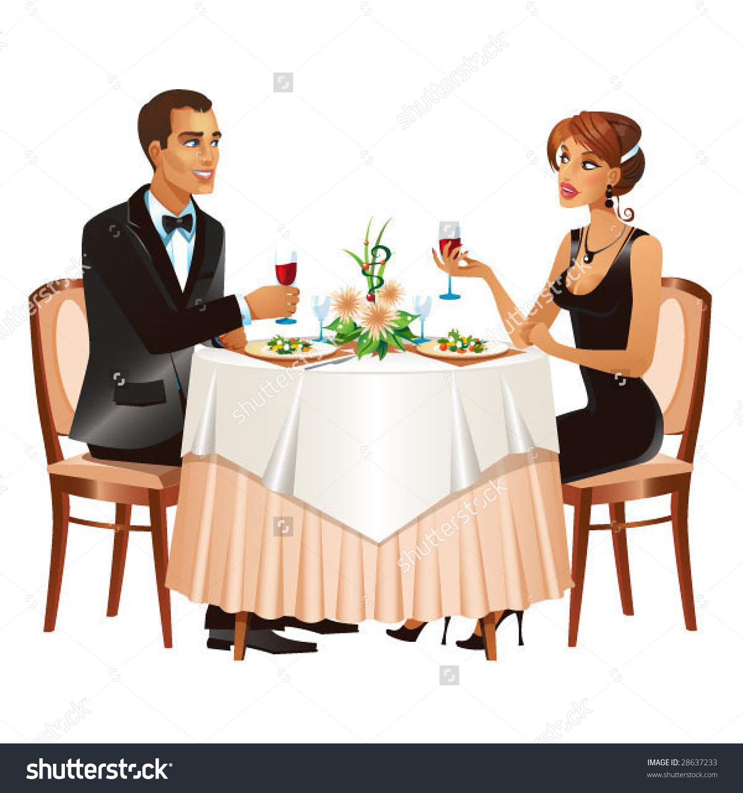Man Woman Restaurant Beige Black White Stock Vector 28637233.