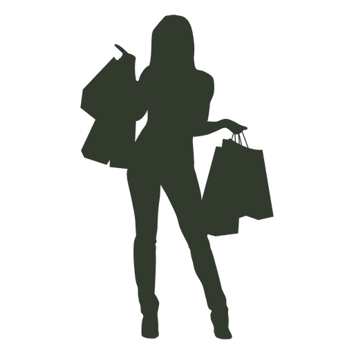 Woman shopping bags pointing.