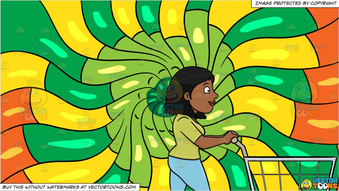 A Black Woman Pushing A Shopping Cart Inside The Supermarket and A  Psychedelic Warm Swirls Background.