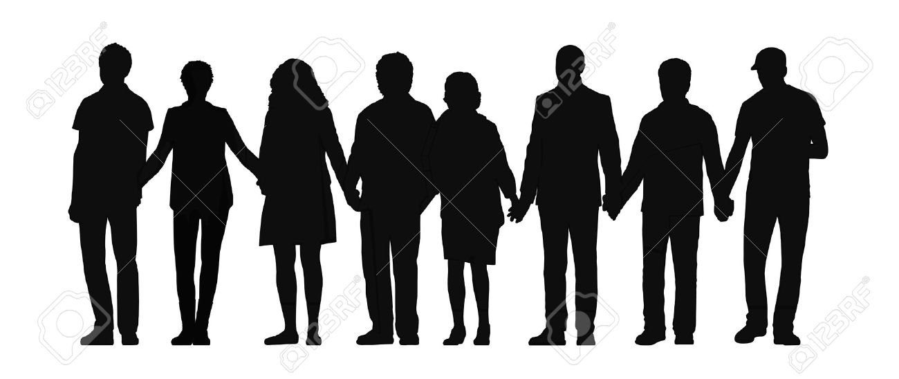 People Standing Together Silhouette.