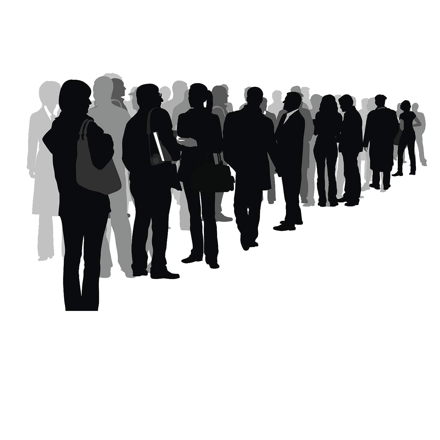 Silhouette Crowd Drawing Illustration.