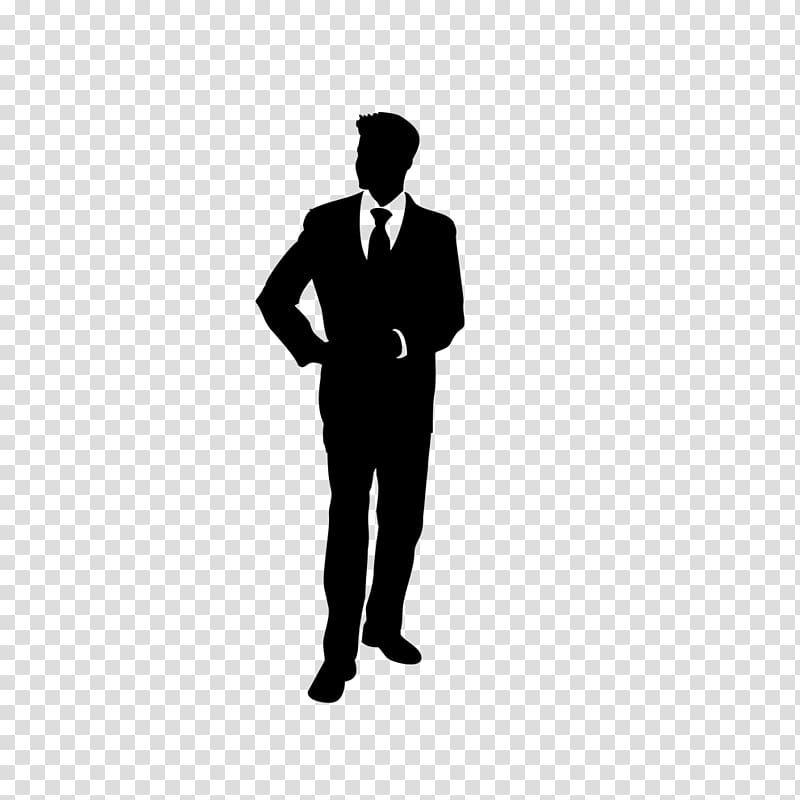 Business people silhouette in black and white transparent.
