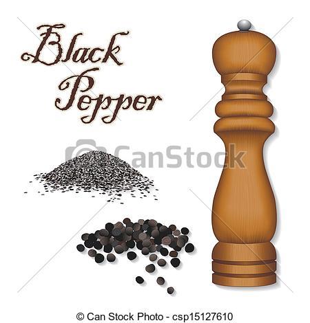 Vector Clip Art of Spice Mill Grinder, Black Pepper.