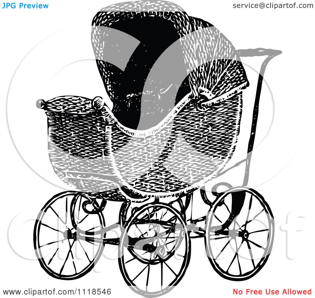 Clipart Of A Retro Vintage Black And White Baby Pram.