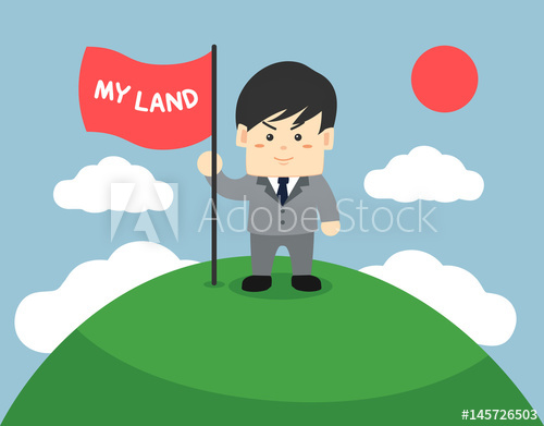 Business man holding flag and standing on the top of green.