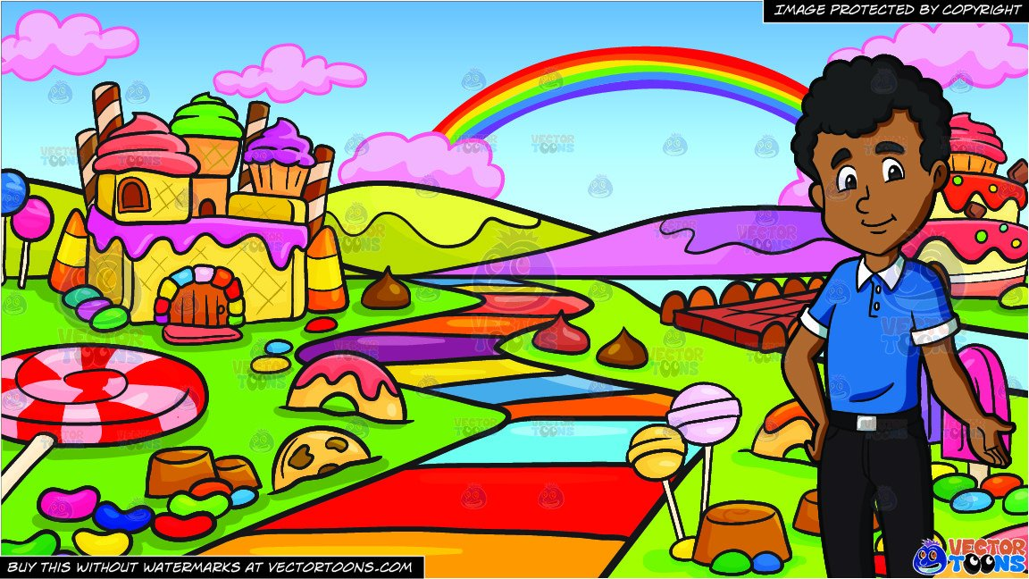 A Black Male High School Student and A Candy Land Background.