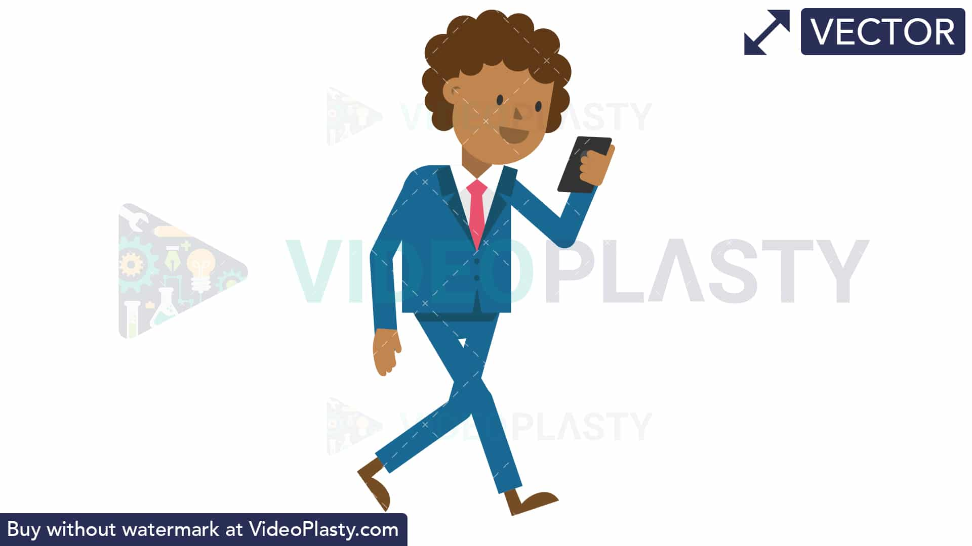 Black Corporate Man Walking Looking at His Cellphone [VECTOR].