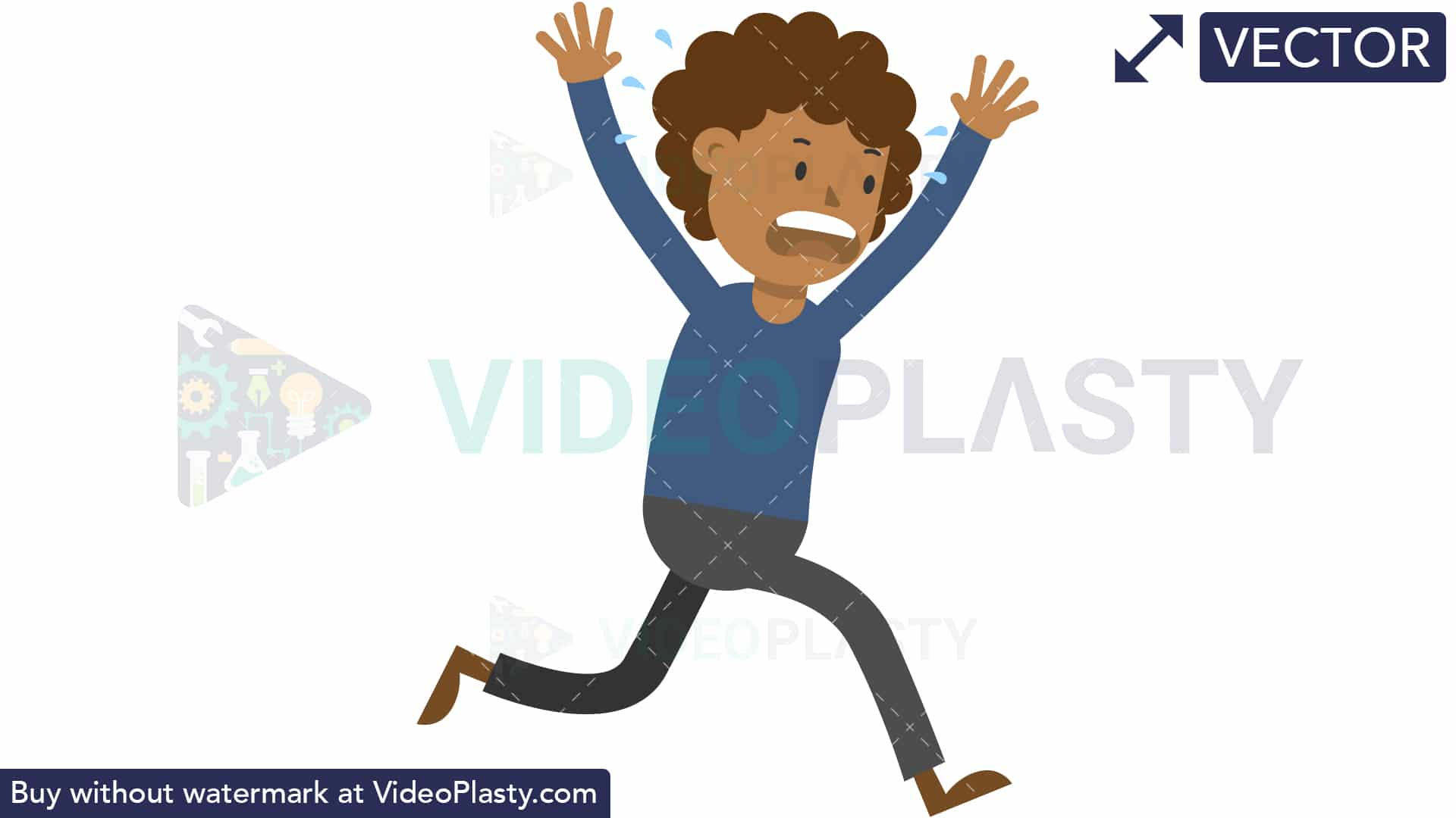 Black Man Running Scared [VECTOR].