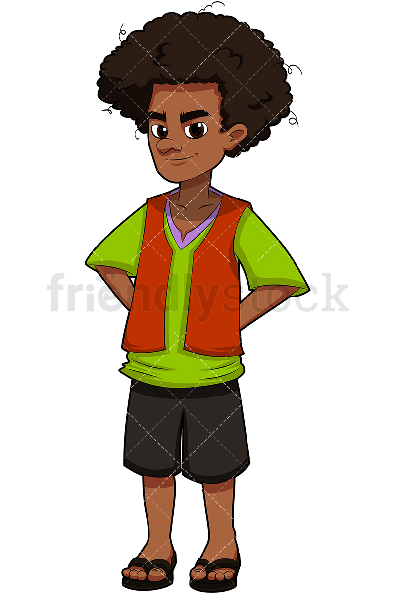 A Black Young Man With Afro Hair, Wearing Sandals.