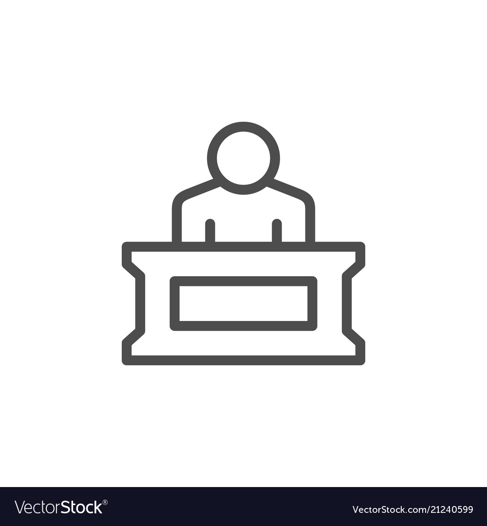 Person in court line icon.