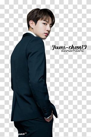 BTS, man in black suit jacket transparent background PNG clipart.