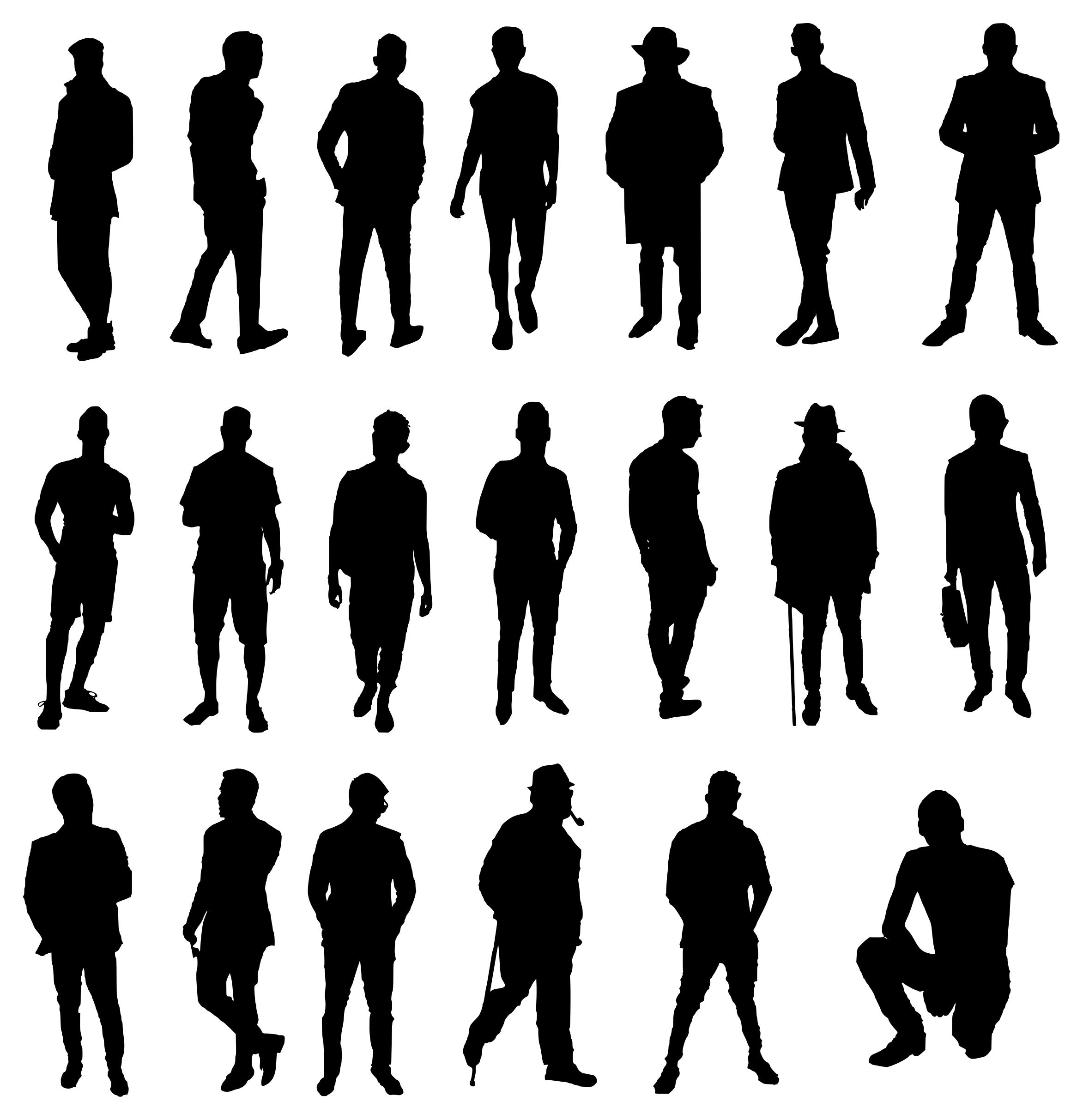 20 Man Silhouette (PNG Transparent).