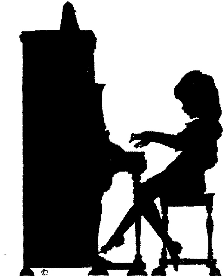 Black and white piano clipart.