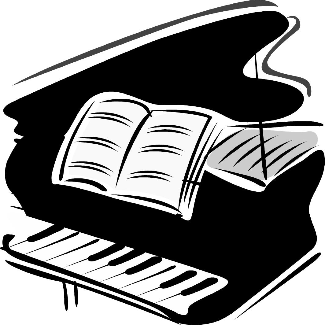 Piano Black And White Clipart.