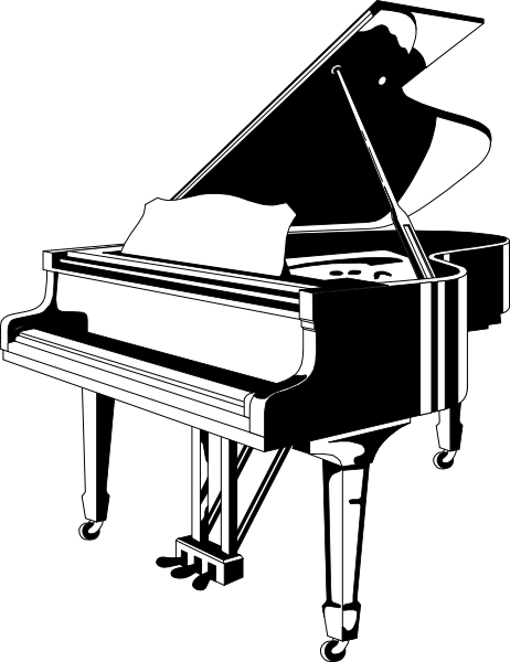 Black and white piano clipart.