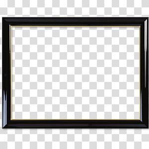 EKD Black Frame, black wooden frame transparent background PNG.