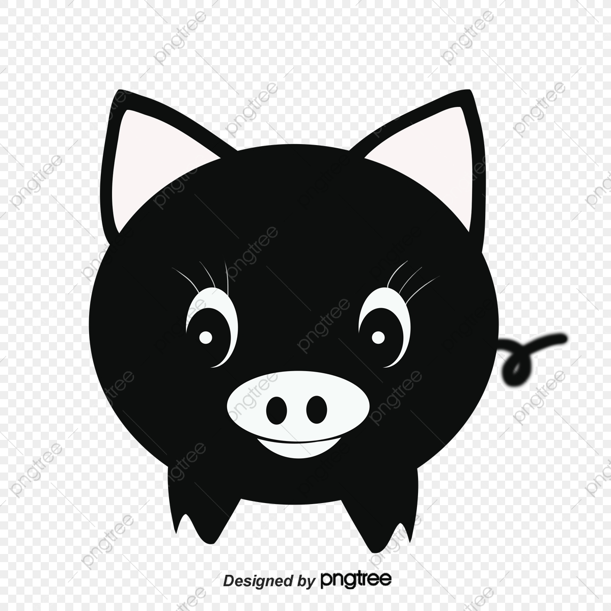 Black Pig Silhouette, Pig Clipart, Black, Animal PNG and Vector with.