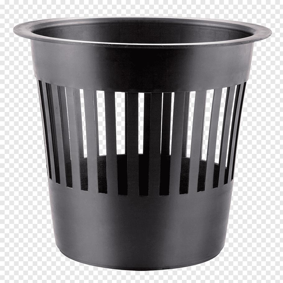 Black plastic trash bin, Paper Trash Recycling bin, Recycle.