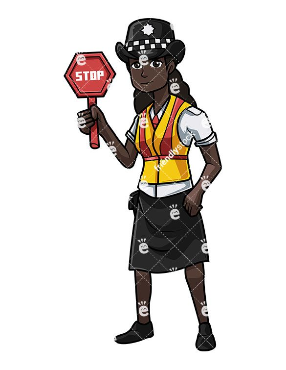 British Black Police Woman Holding A Stop Sign.