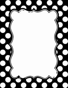 Black and white polka dot border.