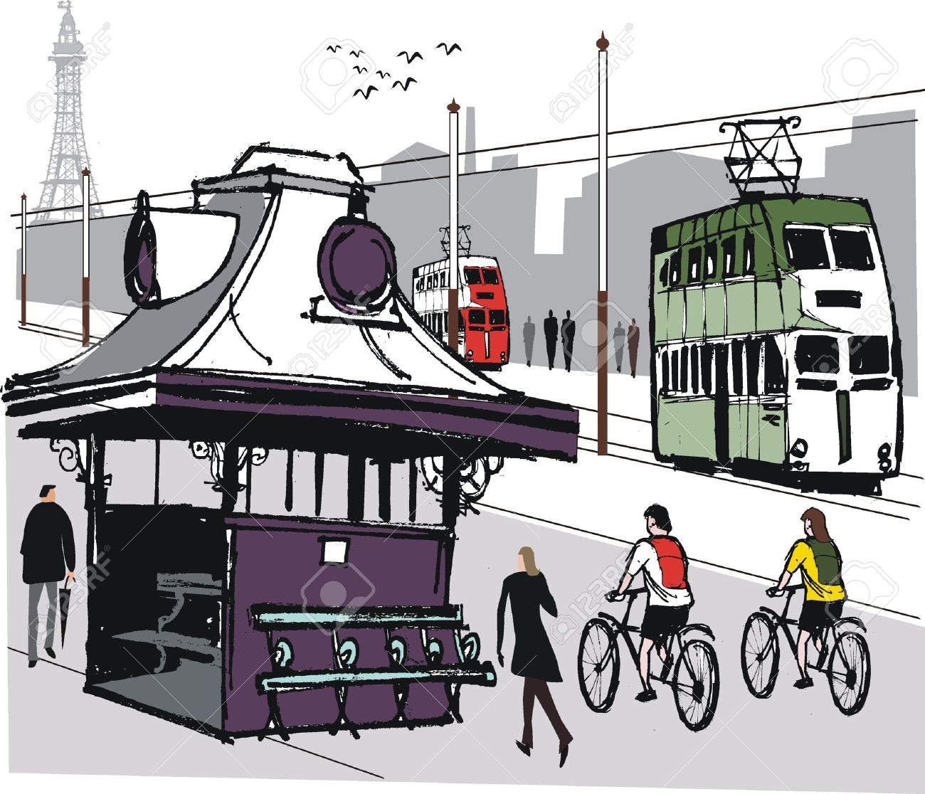 Blackpool Tram Illustration Royalty Free Cliparts, Vectors, And.