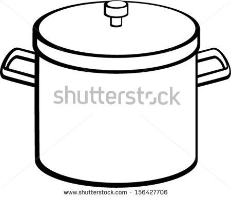Black and white pot clipart.