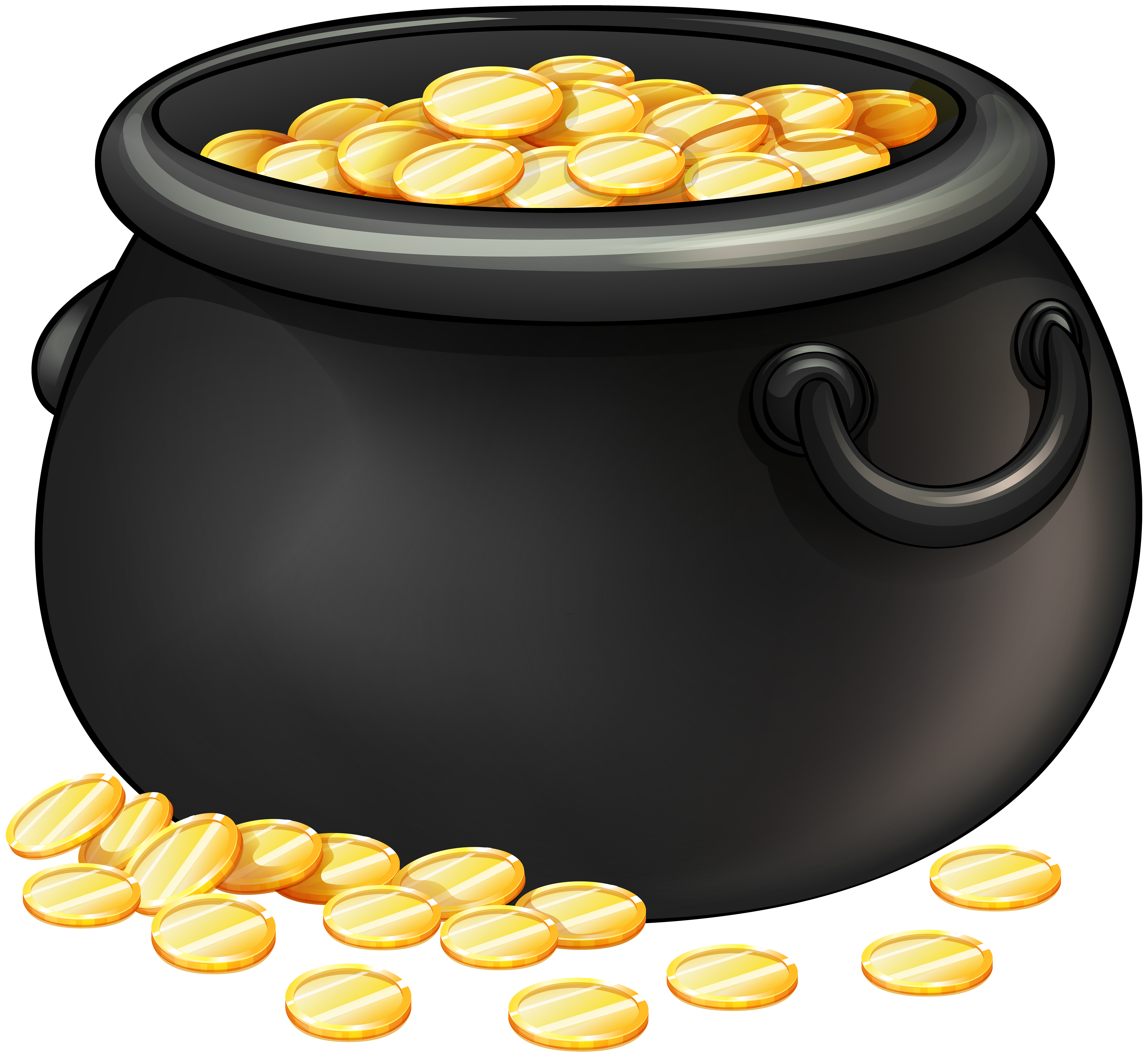 Black Pot of Gold PNG Clip Art.