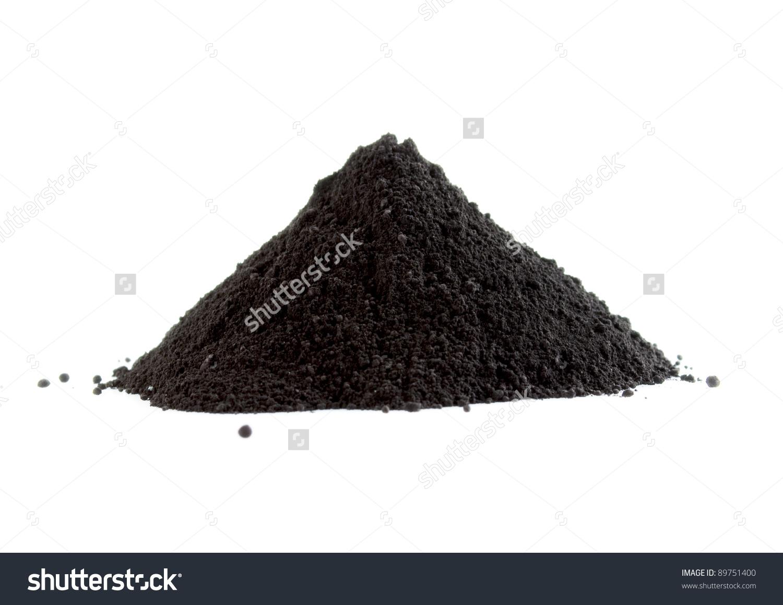 Pile Black Powder Isolated On White Stock Photo 89751400.