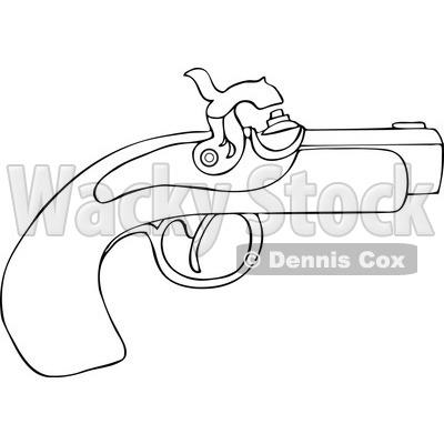 of an Outlined Black Powder Pistol Gun.