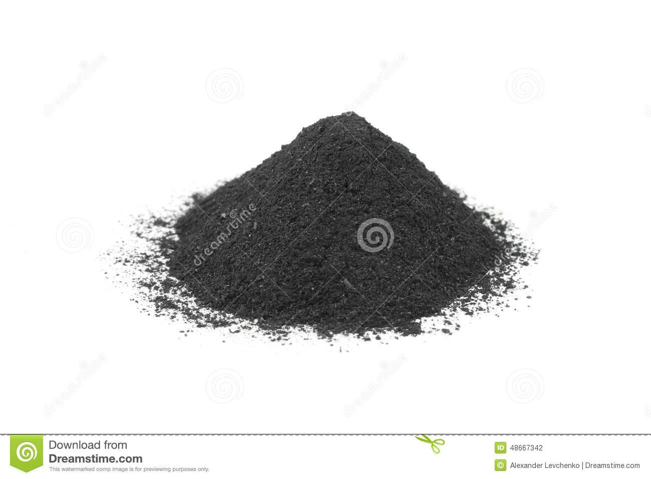 A Handful Of Black Black Powder Stock Photo.