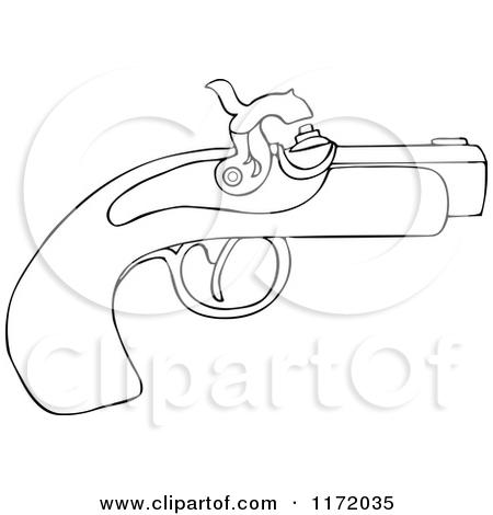 Cartoon of an Outlined Black Powder Pistol Gun.