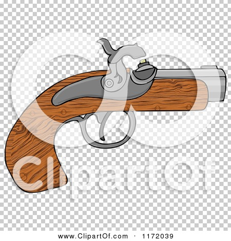 Cartoon of a Wooden Black Powder Pistol Gun.