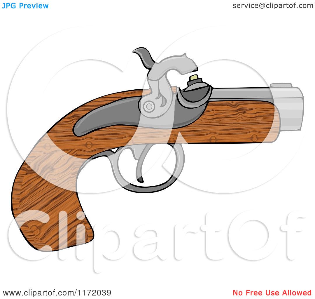 Cartoon of a Wooden Black Powder Pistol Gun.