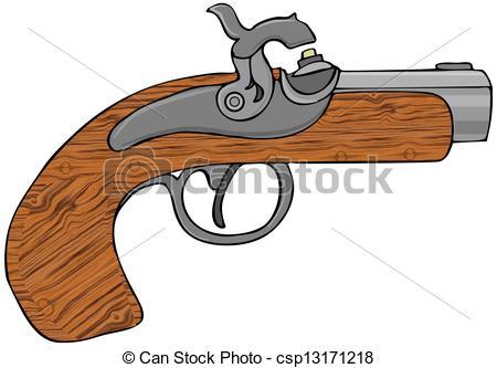 Clipart of Black powder pistol.