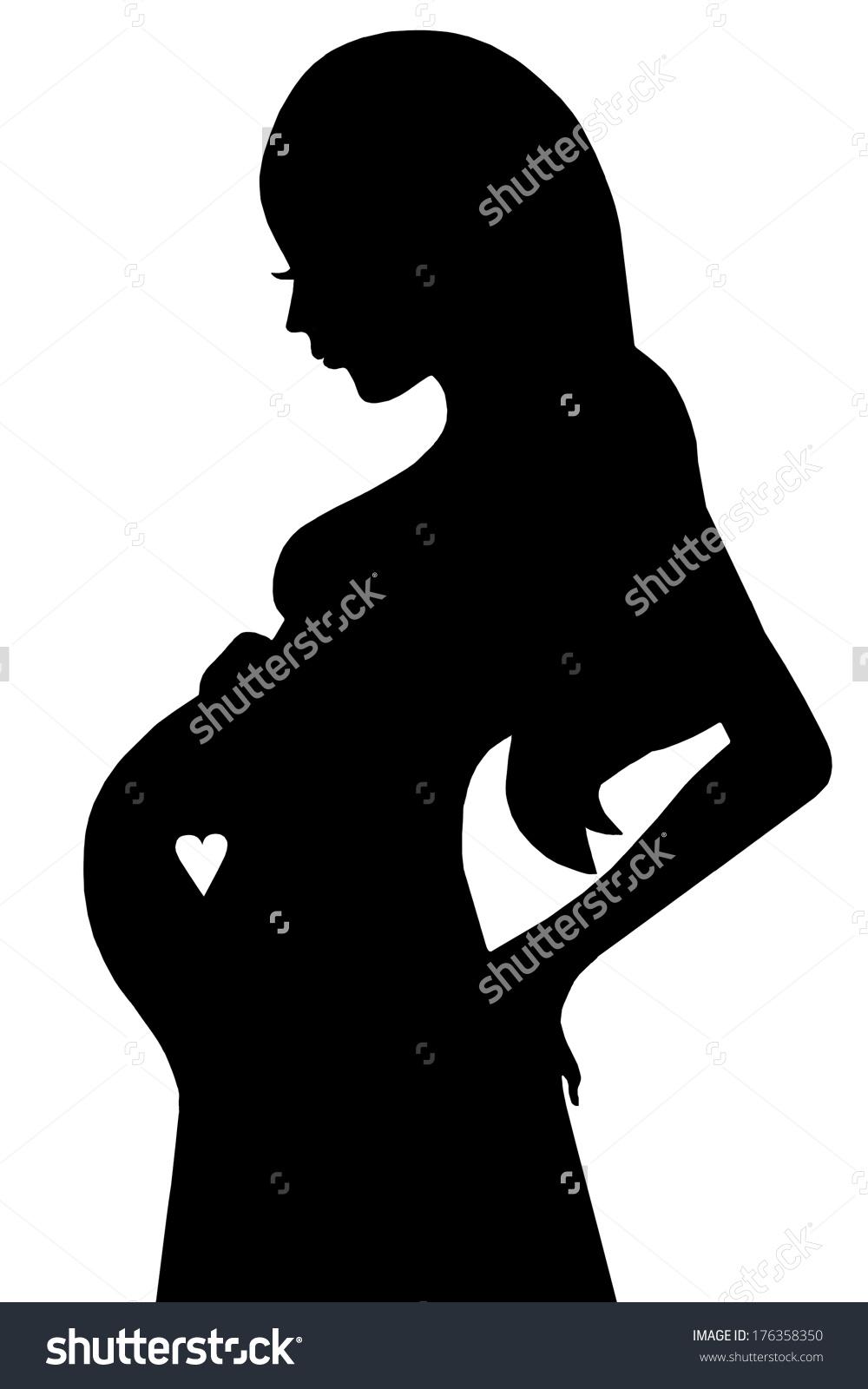 Clip Art Illustration Silhouette Pregnant Woman Stock Illustration.