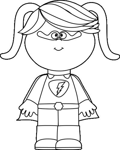 Black and White Little Girl Superhero.