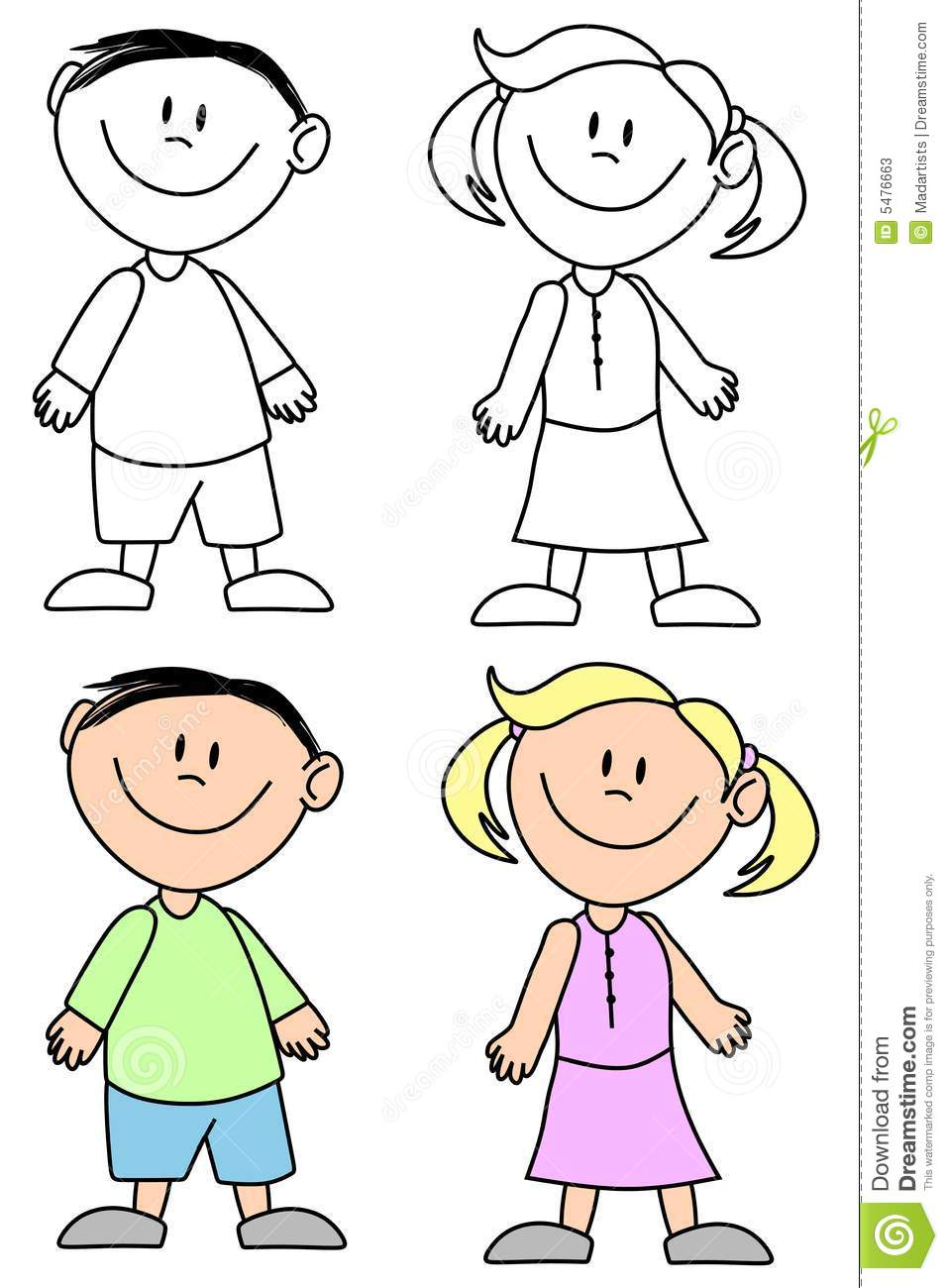 Boy And Girl Clipart Black And White.