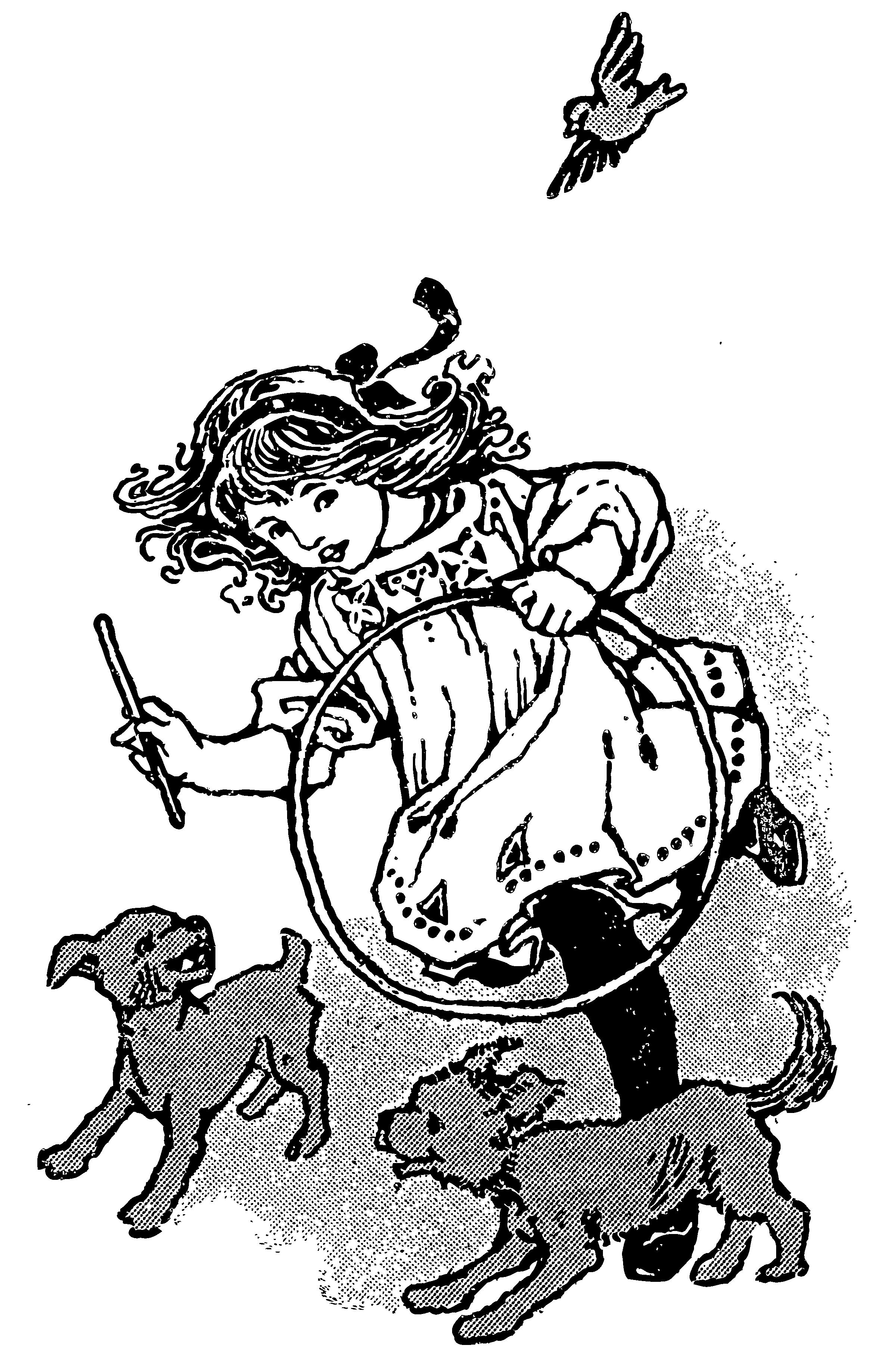 Vintage Girl Playing With Puppies.