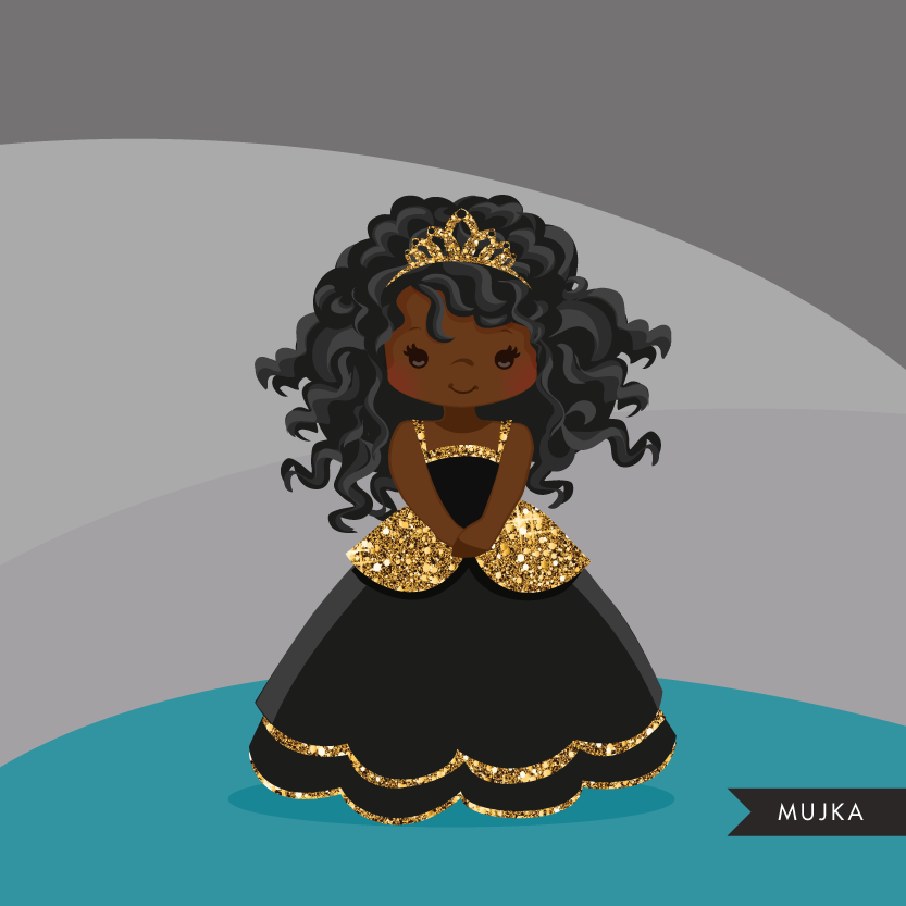 Glitter characters clipart, Black Princess graphics.