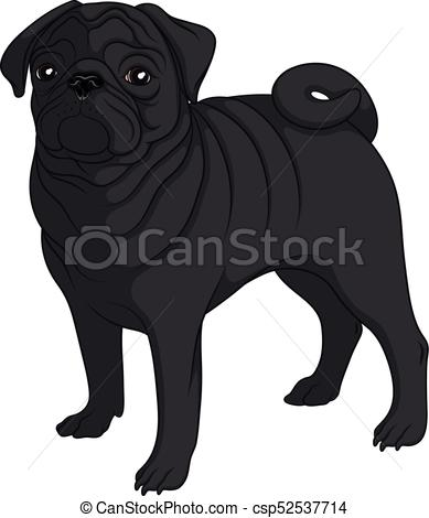 Black pug Clip Art Vector Graphics. 827 Black pug EPS clipart vector.
