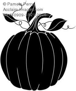 Clip Art Illustration of a Pumpkin Silhouette.