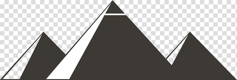 Black and white mountain illustration, Egyptian pyramids.